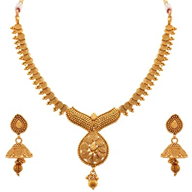 6d5db4996fd Buy Jfl - Jewellery For Less Traditional One Gram Gold Plated Spiral Necklace  Jewellery Set With Jhumka Earrings For Women Online at Low Prices in India  ...