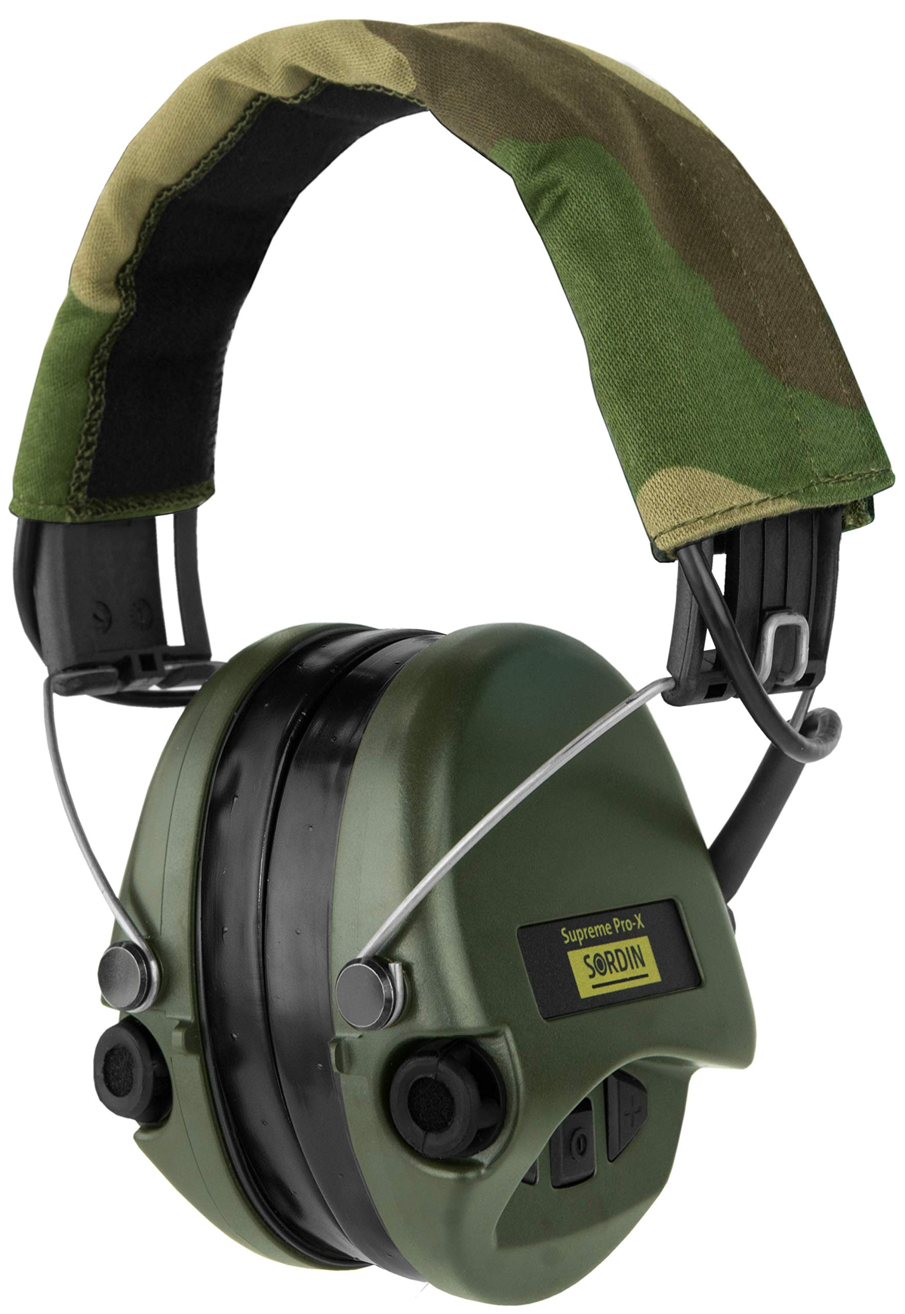 Sordin Supreme PRO X, Noise Reduction Active Safety Ear Muffs, Gel Seals, Adjustable Hearing Protection for Shooting, Hunting, Work, Camo Canvas Headband, Green Cups