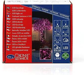 Micro LED Lichterkette 40 pinke Dioden 24V Außentrafo