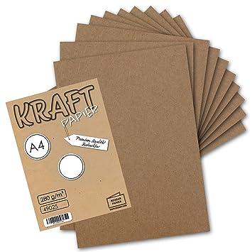 Tarjetas de papel Kraft reciclado (285 g/m², DIN A4, 210 x 297 cm), color marrón , color 285 g/m² 50 unidades: Amazon.es: Electrónica