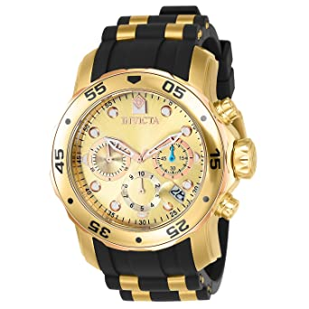 da9ddac873d Invicta Men s 17884 Pro Diver 18k Gold Ion-Plated Stainless Steel  Chronograph Watch