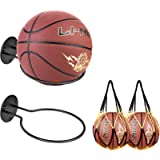 JJDPARTS Sports Ball Holders Wall Mount Display Rack with Basketball Mesh Net Bag for Basketball Volleyball Rugby Soccer