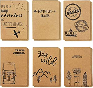 Adventure & Travel Theme Lined Kraft Journal Notebook (4 x 5.75 in, 24 Pack)