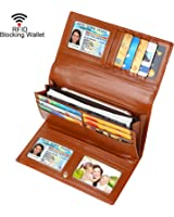 Dante Women RFID Blocking Real Leather Trifold Wallet - Clutch Checkbook Wallet for Women - Shield Against Identity Theft