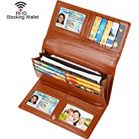 Dante Women RFID Blocking Real Leather Trifold Wallet - Clutch Checkbook Wallet for Women