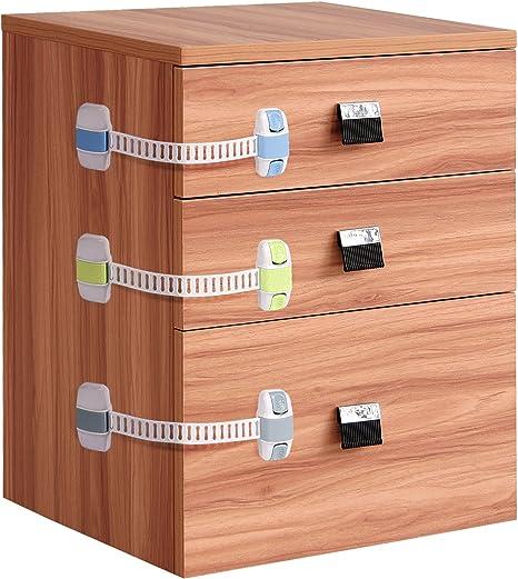 Bebé armario de seguridad Locks willceal 8 Pack doble seguro ajustable niño seguridad Latch para Armario, refrigerador, cajón, para inodoro, etc.: Amazon.es: Bebé