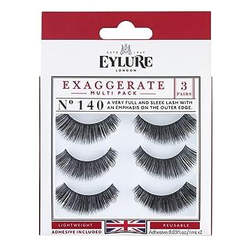 9255c4931df Amazon.com : Eylure Exaggerate False Eyelash Multi Pack, Style No. 140,  Reusable, Adhesive Included, 3 Pair : Beauty
