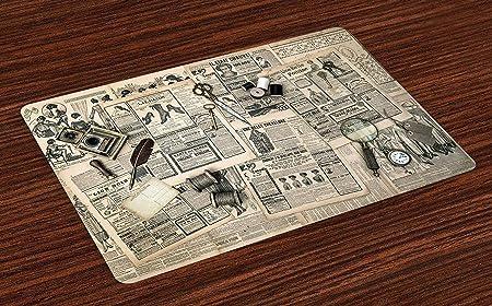 Colchonetas tipo reloj, accesorios antiguos Diseño Revista Old Fashion Herramientas de costura y escritura Impresión, manteles individuales de tela para comedor Decoración de mesa de cocina, juego de: Amazon.es: Hogar