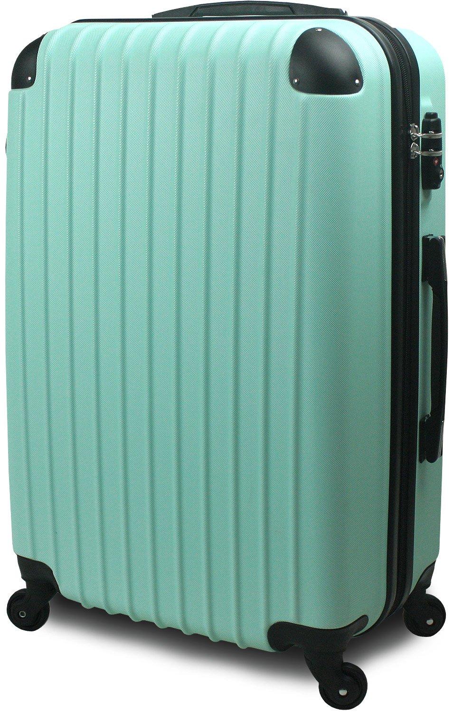 スーツケース キャリーバッグ 超軽量 大型 Lサイズ TSA搭載 FS2000 ダブルファスナー B0716XRGRW 大型 Lサイズ 7~14泊用|グリーン グリーン 大型 Lサイズ 7~14泊用