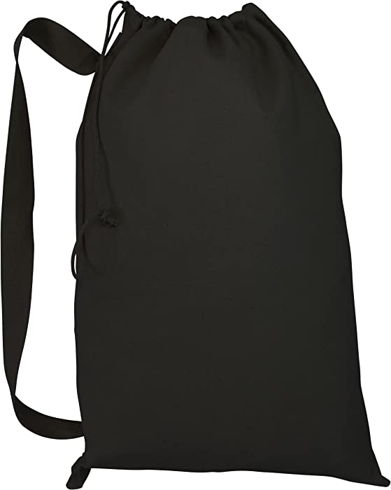 "Laundry Bag w/Drawstring Closure Shoulder Straps Heavy Canvas for House, College (Black, Large - 22""W x 33""H)"