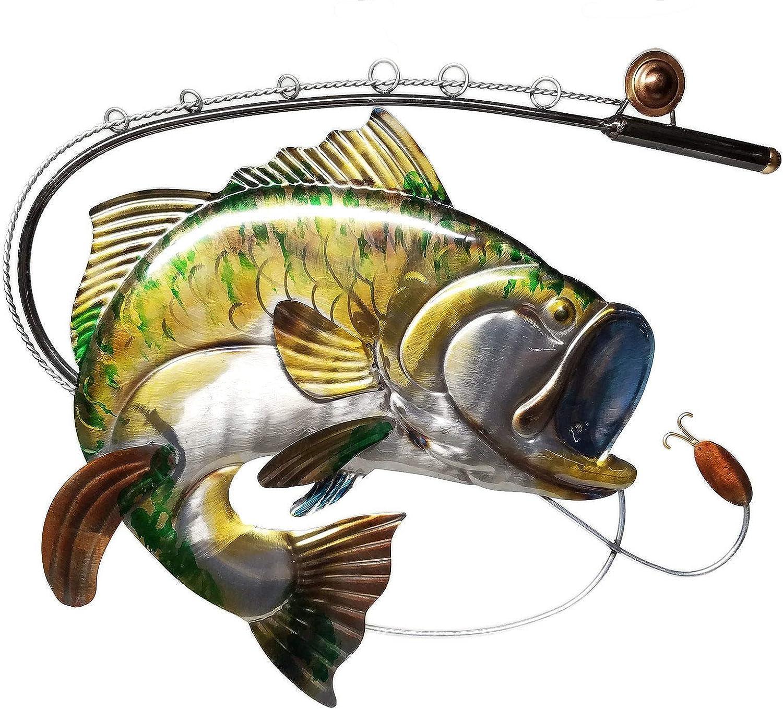 Large 23-inch Fishing Decor Largemouth Bass Fish and Fishing Pole Metal Wall Decor