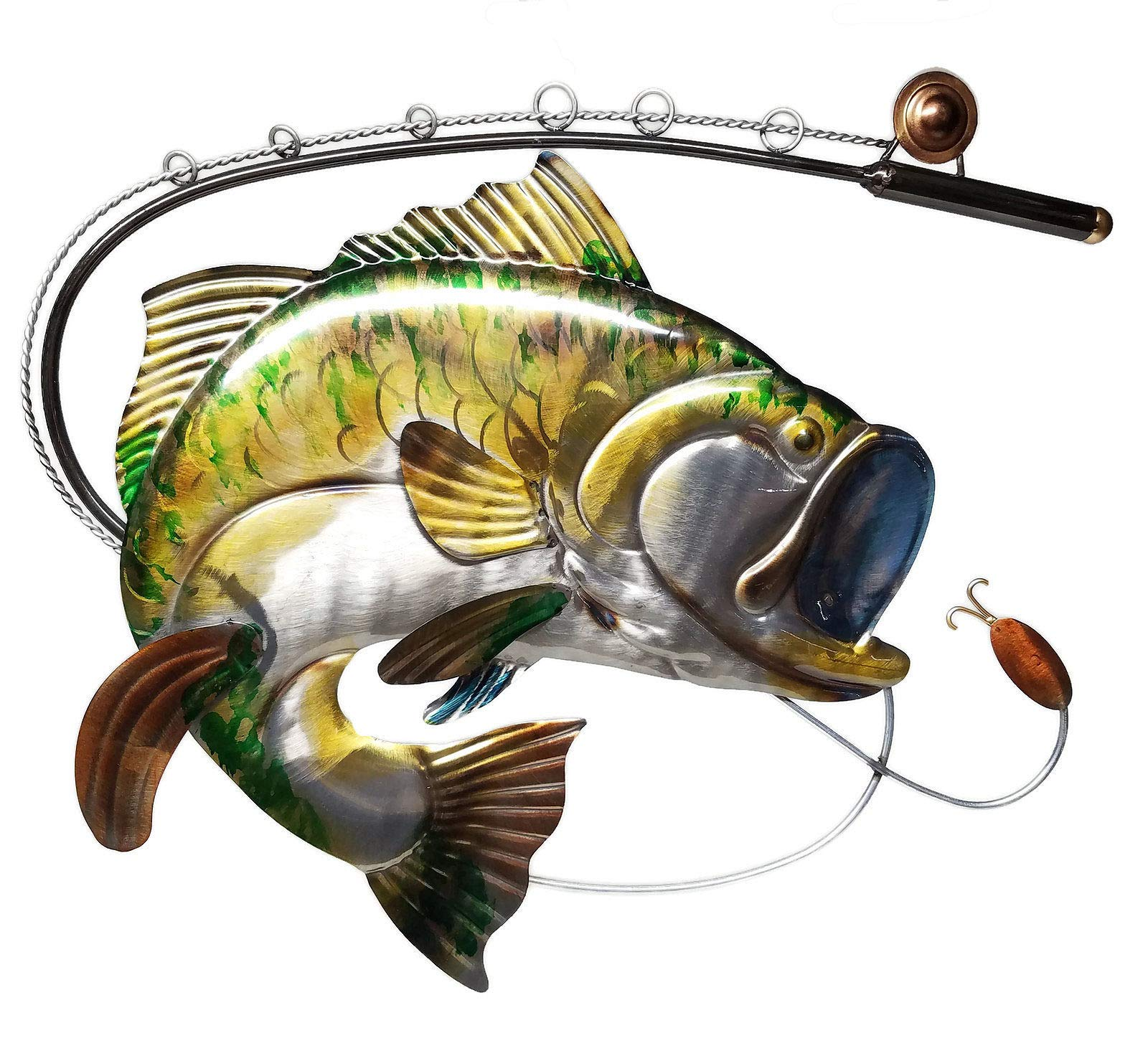 Fishing Decor Largemouth Bass Fish and Fishing Pole Metal Wall Decor, Large 23-inch