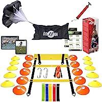 goalin Speed & Agility Training Set - Set of Premium Agility Ladder, 20 Disc Cones, Running Parachute, Jump Rope…