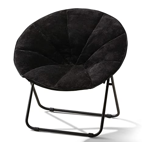 Superb Mainstays Plush Saucer Chair Soft Faux Fur Fabric Durable Powder Coated Frame Black Pabps2019 Chair Design Images Pabps2019Com