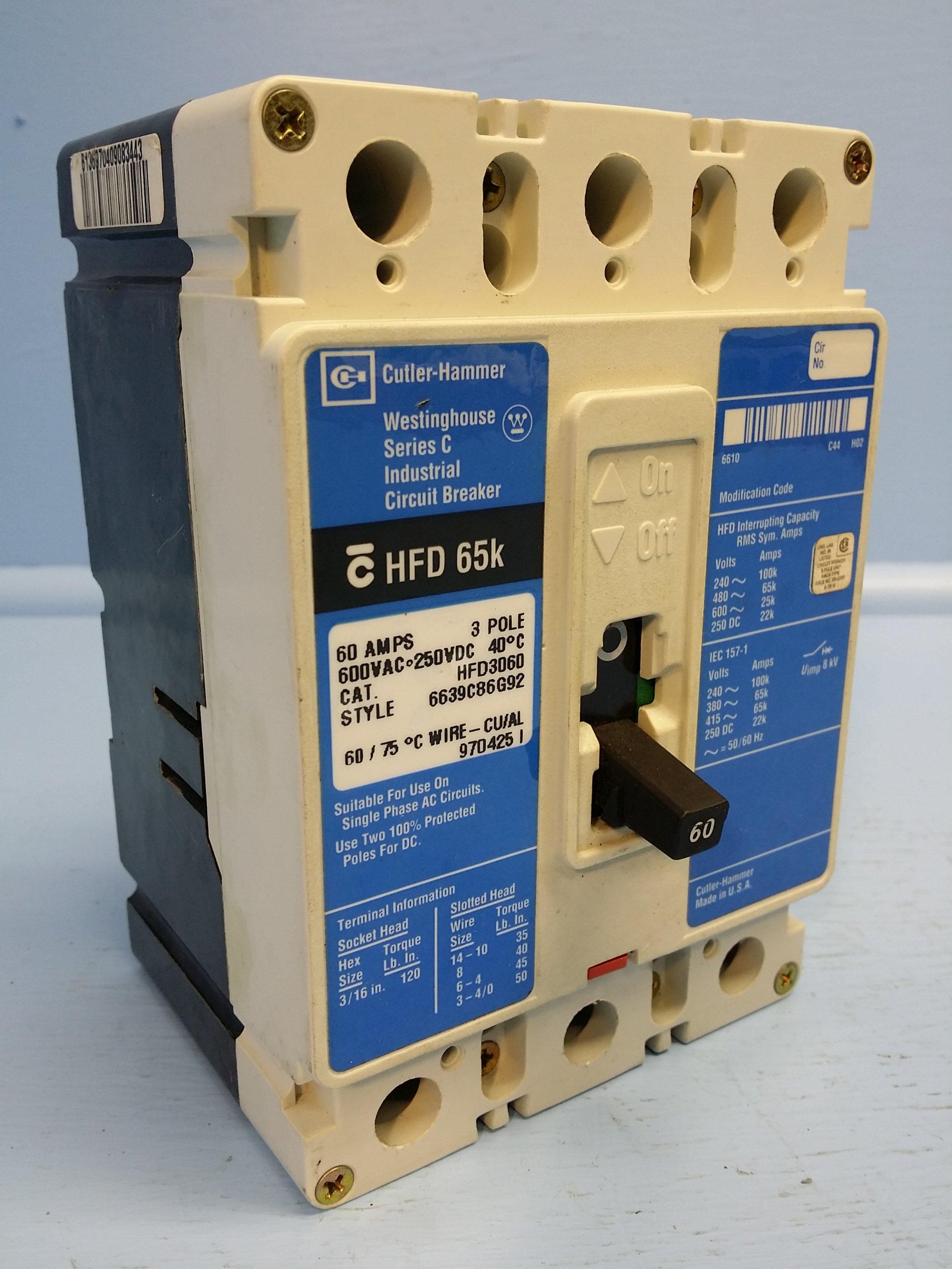 Eaton HFD3060 Panel Mount Type HFD Molded Case Circuit Breaker 3-Pole 60 Amp 600 Volt AC 250 Volt DC