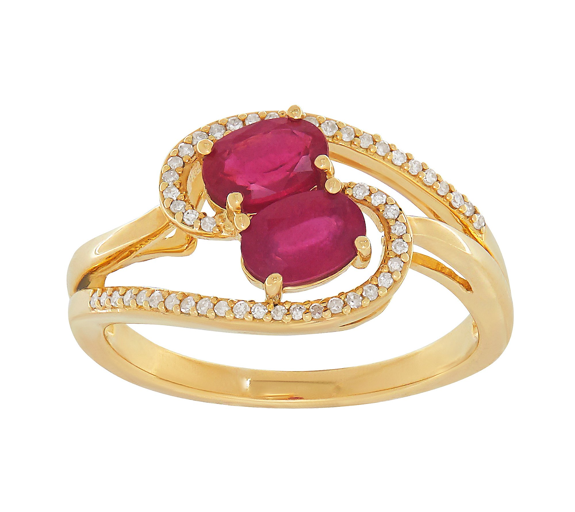 10K Yellow Gold and Glass Filled Ruby Ring with Diamond Accents by Fine Jewelry