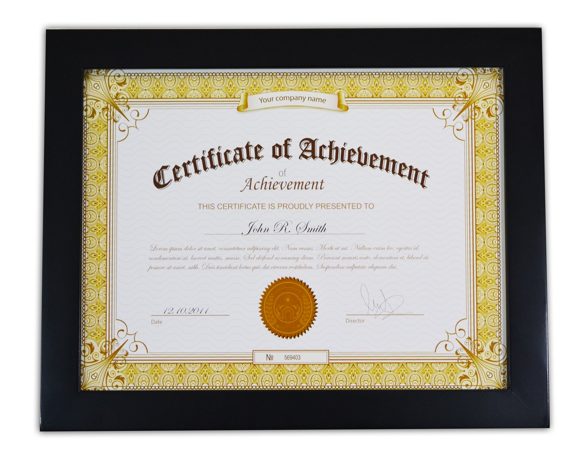 Golden State Art, Wooden Document Frame with REAL GLASS, Holds 8.5 by 11-Inch Certificate, Black