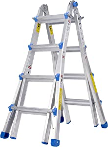 TOPRUNG Model-17 ft. Aluminum Extension Multi-Purpose Ladder with 300 lb. Load Capacity Type IA Duty Rating