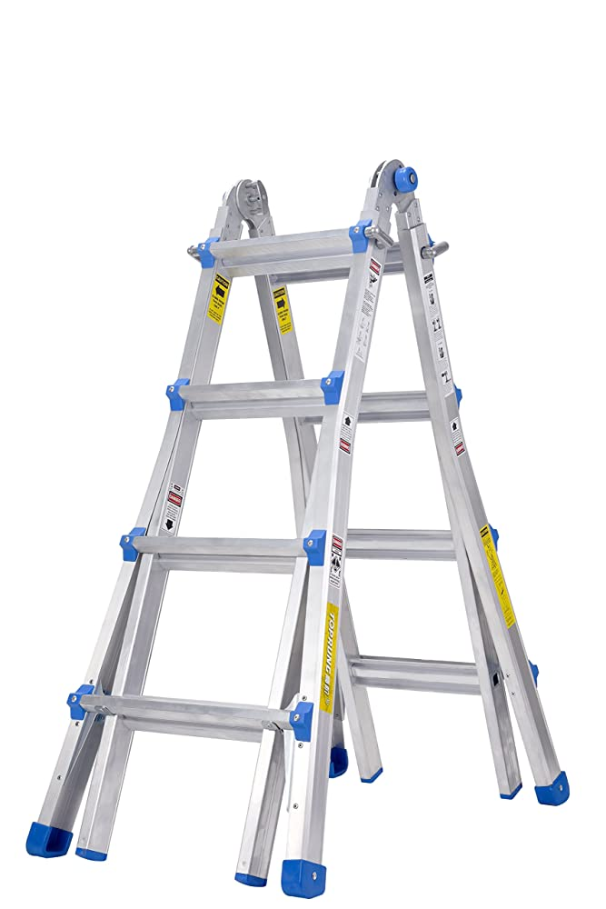 9. TOPRUNG Model-17 ft. Aluminum Extension Multi-Purpose Ladder with 300 lb. Load Capacity Type IA Duty Rating