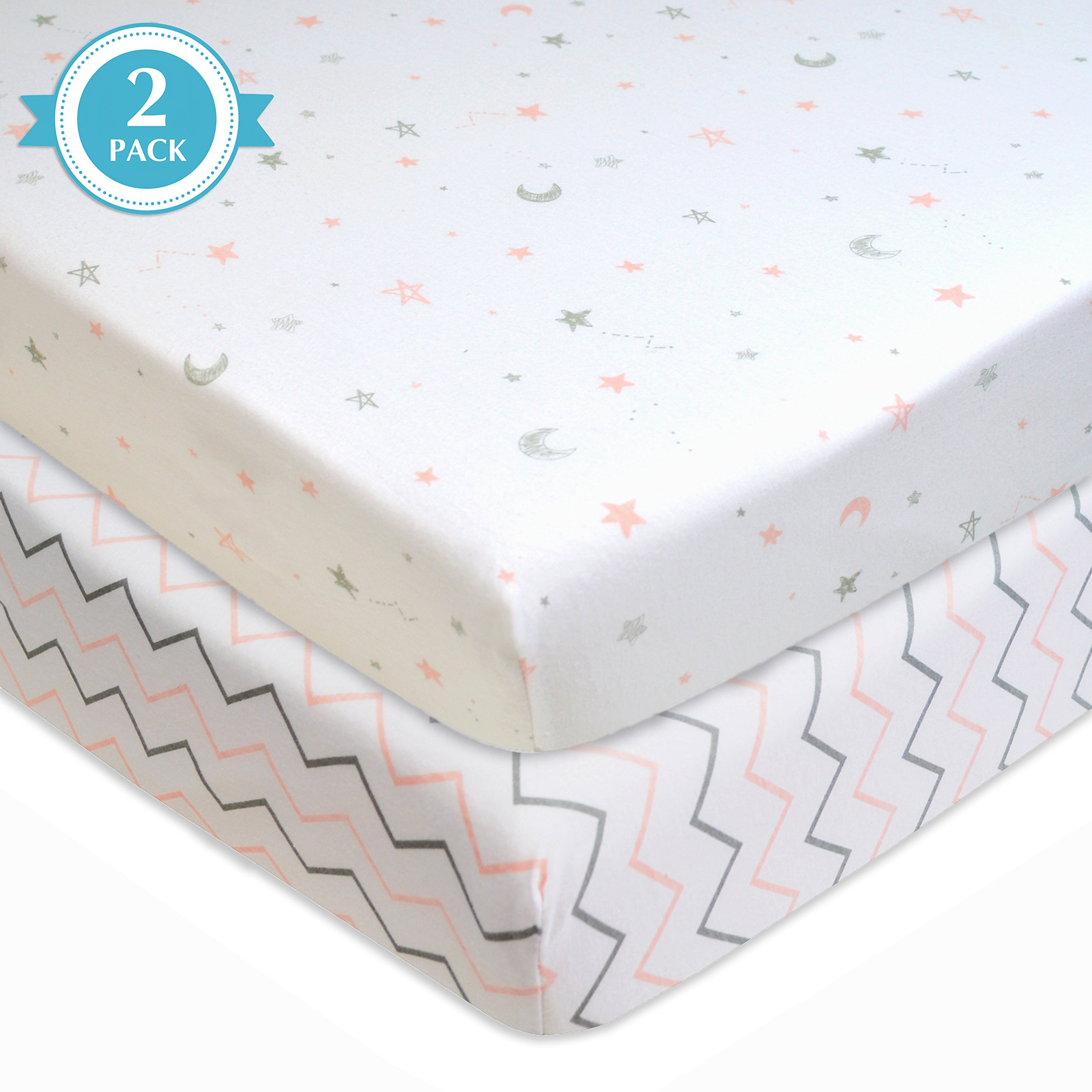 American Baby Company 2 Piece Printed 100% Cotton Jersey Knit Fitted Pack N Play Playard Sheet,Pink Stars/Zigzag