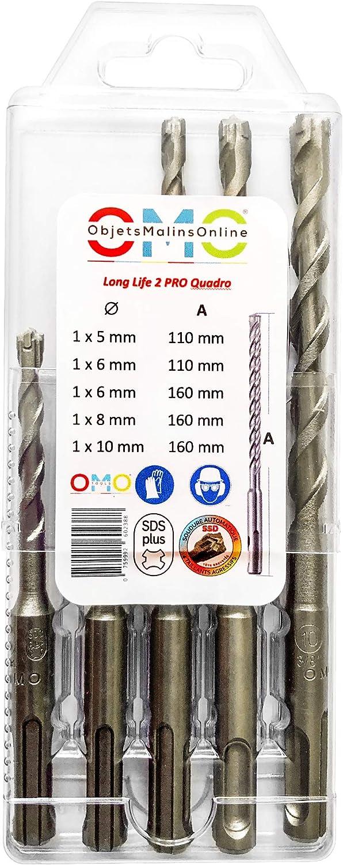 ObjetsMalinsOnline/® M/èches SDS PLUS Long Life QUADRO PRO 2 pour perforateur toutes Marques Assortiment de 5 m/èches en coffret Translucide r/éutilisable