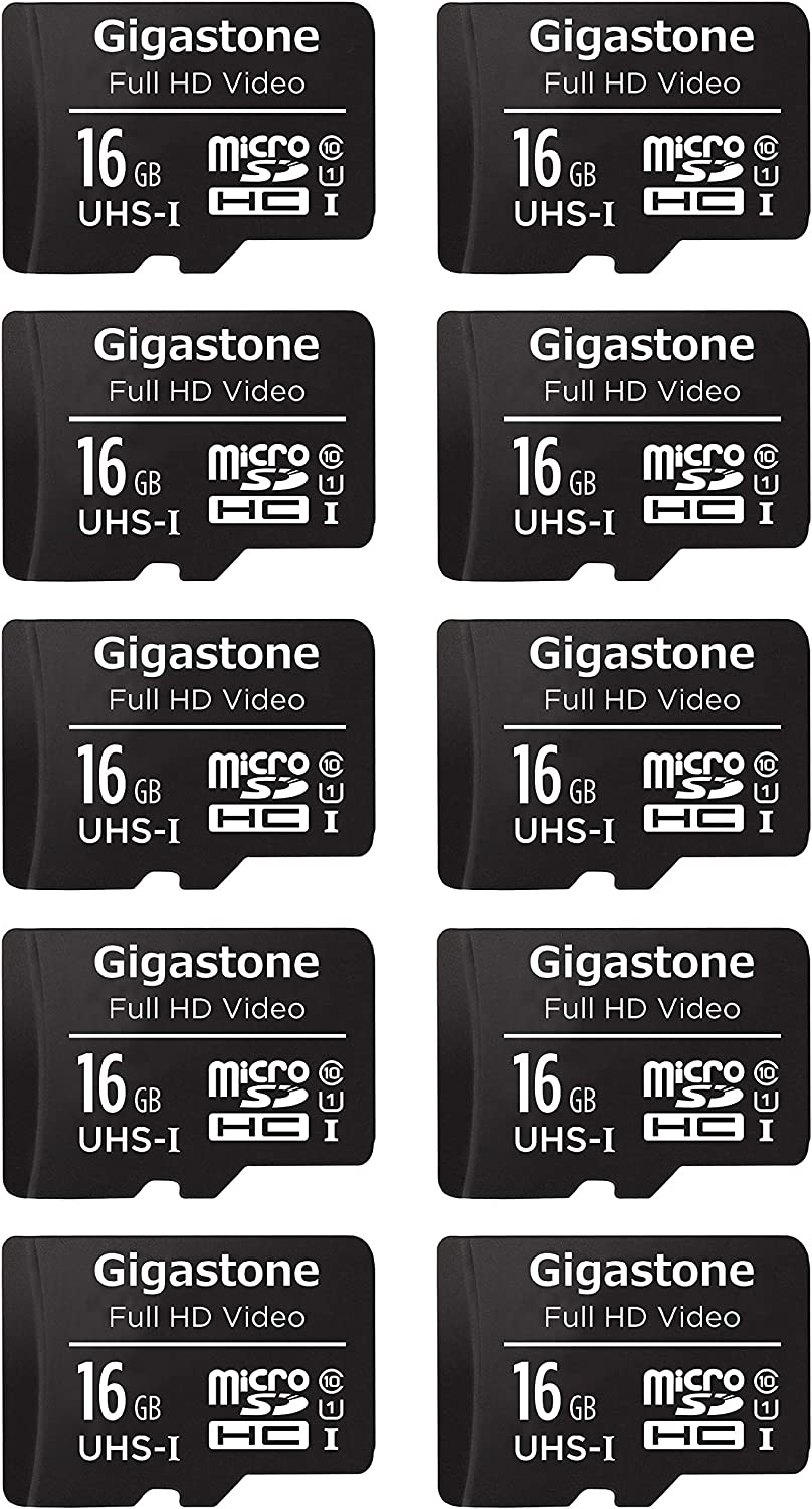 Gigastone 16GB 10-Pack Micro SD Card, FHD Video, Surveillance Security Cam Action Camera Drone Professional, 90MB/s Micro SDXC UHS-I U1 Class 10
