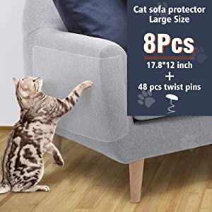"OIFIO Cat Sofa Protector, Furniture Tape For Cats,8 Pack Clear Large Size 17.8""L 12""W Cat Scratch Protector, Cat Scratch Deterrent Tape, Cover to Protect Sofa, Door, Wall,Mattress, Seat, Residue Free."