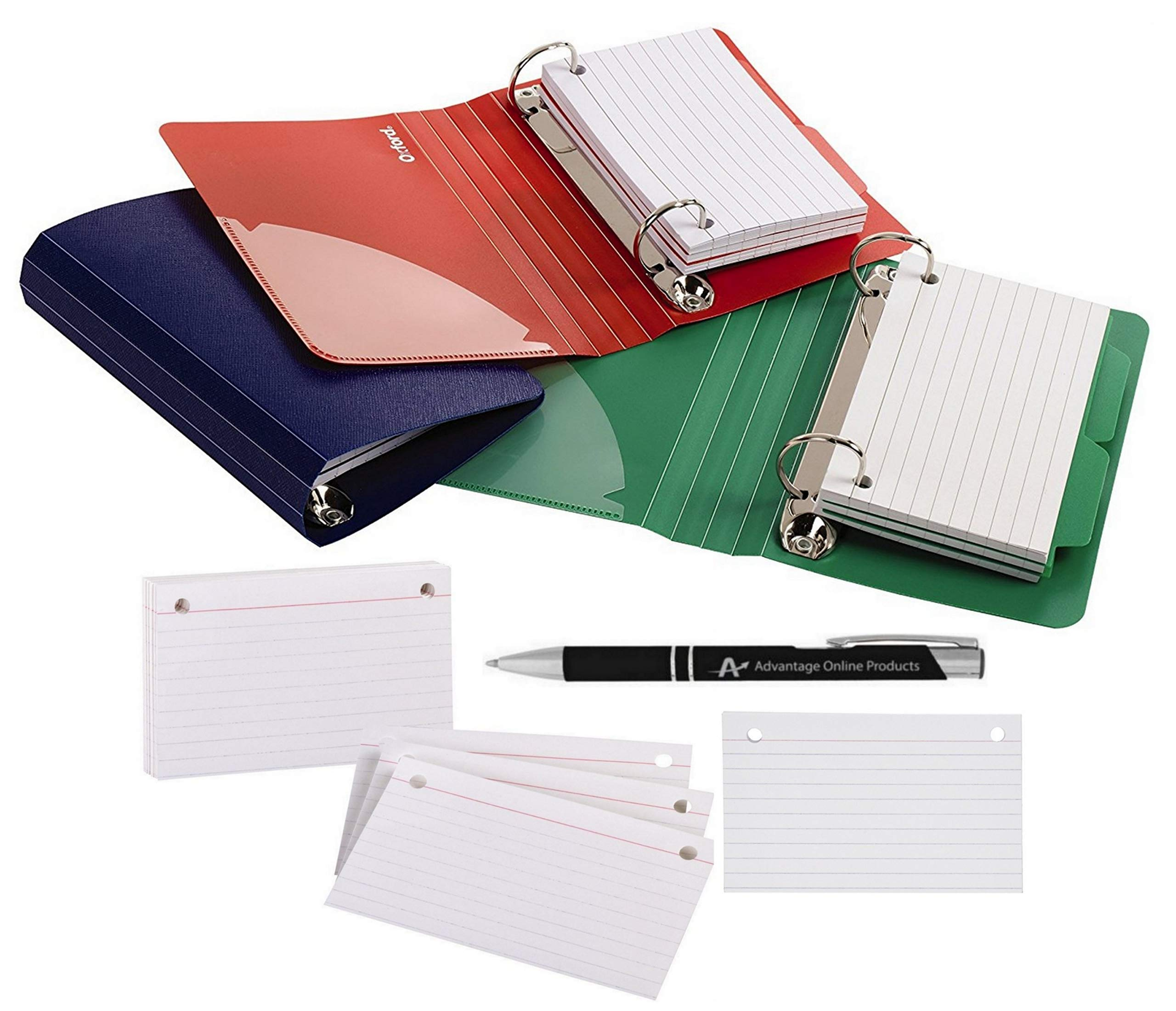 Value Bundle of 3 Oxford Poly Index Card Binders, 3 x 5 Inches, Includes 50 Pre-Punched Cards (73569) and 3 Index Card Refills (07351) Plus Bonus AdvantageOP Custom Pen