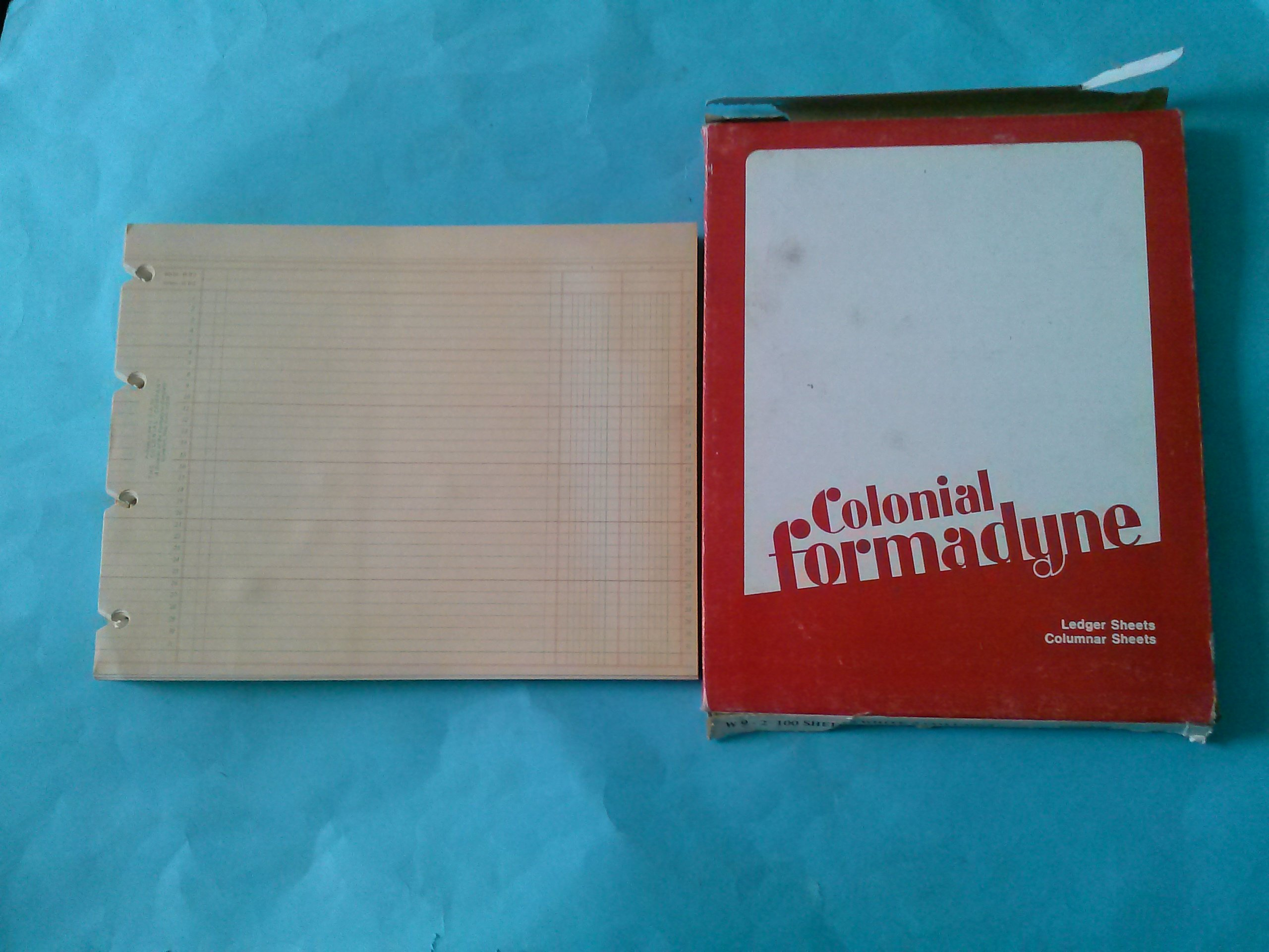 Colonial Formadyne W9-2 Ledger Sheets Columnar Sheets White 2 Columns 100 Sheets 9 1/4'' x 11 7/8'' 4 Slot Holes 32 Lines (Vintage Office Product)