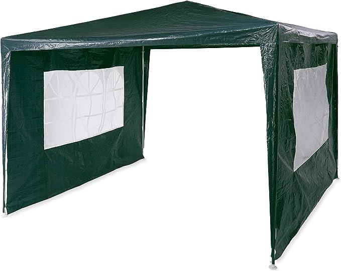 Relaxdays Pavilion 3x3 m, 2 paneles laterales, estructura de metal, lona PE, ventana, carpa de fiesta del festival, cerrada, verde: Amazon.es: Jardín