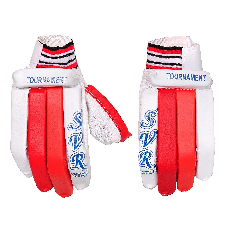 Svr - Guantes de críquet para Hombre, Color Blanco y Rojo, Pack de 2, tamaño Completo, Calidad de Hoja Ligera tamaño Completo Vijendra Sports Meerut UP