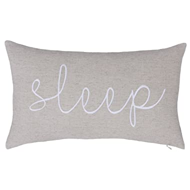 DecorHouzz Sleep Sentiment Embroidered Pillow Cover Cushion Cover Pillow Cases Throw Pillow Decorative Pillow Wedding Birthday Anniversary Gift 12 x20  (Ivory)