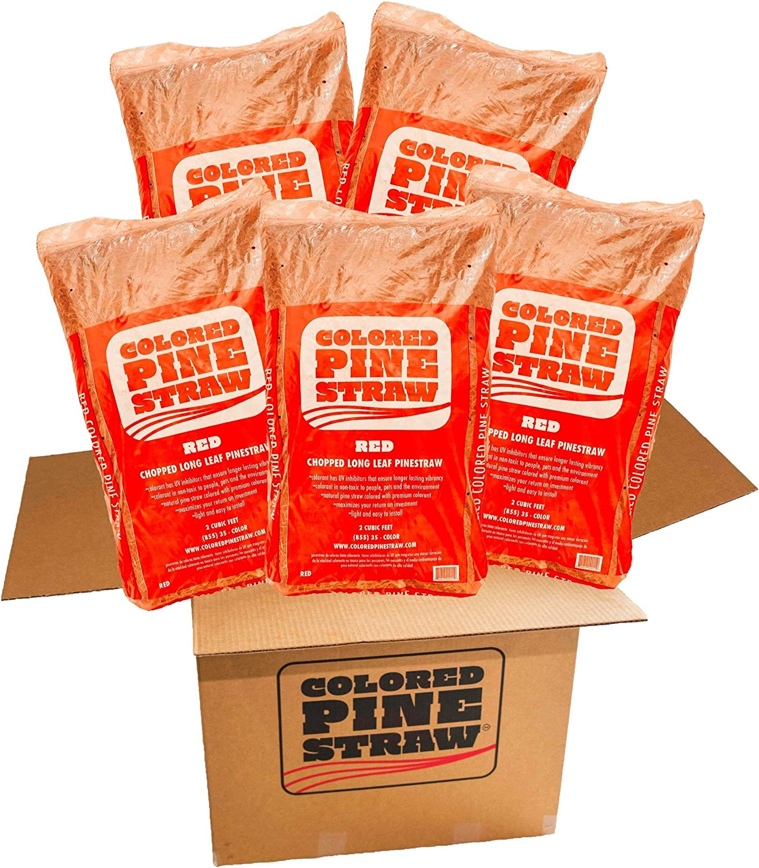 5 Bags per Box 100-140 Sq Longleaf Pine Straw Colored Red Mulch Ft.