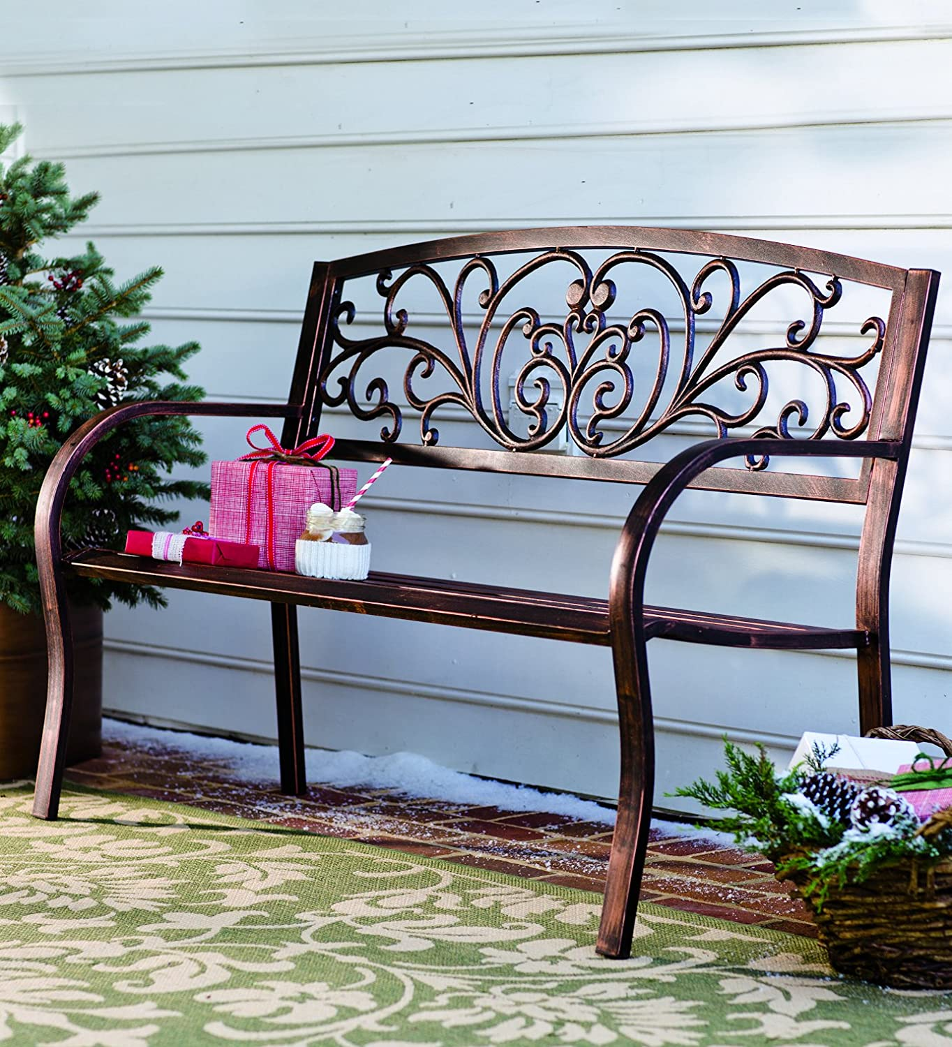 Amazon.com : Plow U0026 Hearth Blooming Patio Garden Bench Park Yard Outdoor  Furniture, Iron Metal Frame, Elegant Bronze Finish, Sturdy Durable  Construction, ... Part 21