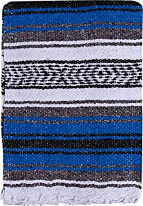 El Paso Designs Mexican Yoga Blanket Colorful 51in x 74in Studio Mexican Falsa Blanket Ideal for Yoga, Camping, Picnic, Beach Blanket, Bedding, Home Decor Soft Woven (Blue)