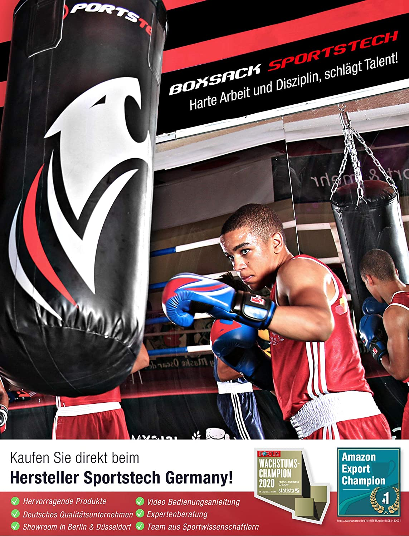 Trainingsposter Kinder Box-Set empfohlen vom Berliner Boxverband e.V Sportstech BXP Kampfsport Kinder Boxsack-Set mit 60 cm L/änge und 40 cm Durchmesser /& 360/° Fixierung inkl