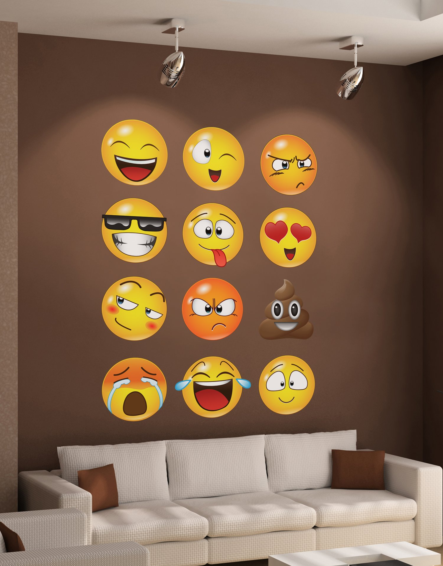 12 Large Emoji Wall Decal Faces Sticker #6052s 10in X 10in Each by Stickerbrand (Image #5)