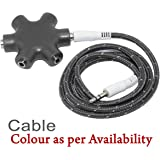 Black Multi Headphone Splitter 3.5mm Audio Jack Stereo Headphone Splitter Cable Adapter for All Android/Smart phone - (Colors May Vary For Cable)