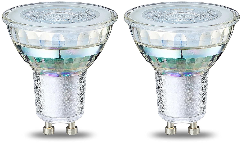 Basics Bombilla LED Foco GU10, 4.6W (equivalente a 50W), Blanco Cá lido- 2 unidades Blanco Cálido- 2 unidades GU10 _2_GU10 50W Glass ND