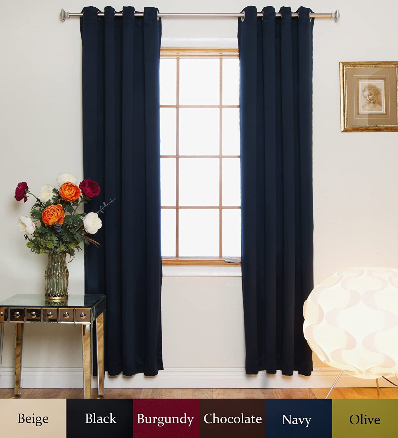 Navy Nickel Grommet Top Energy Saving Thermal Insulated Blackout Curtain