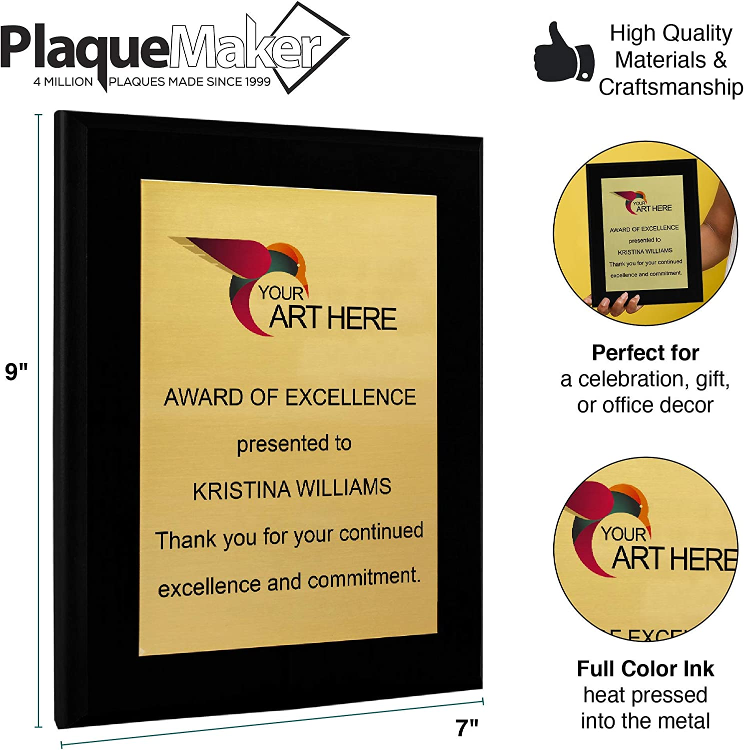 7 x 9, Gold Metal, Black Board PlaqueMaker Personalized Award Plaque Aluminum Recognition Certificate Customized Text and Picture Options