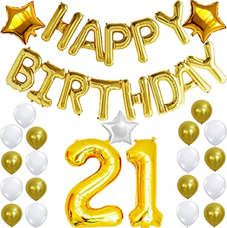 21st Birthday Decorations Party Kit Happy Birthday Balloon Banner Number 21 Balloon Mylar Foil Gold White Latex Ballon Perfect 21 Year Old Party