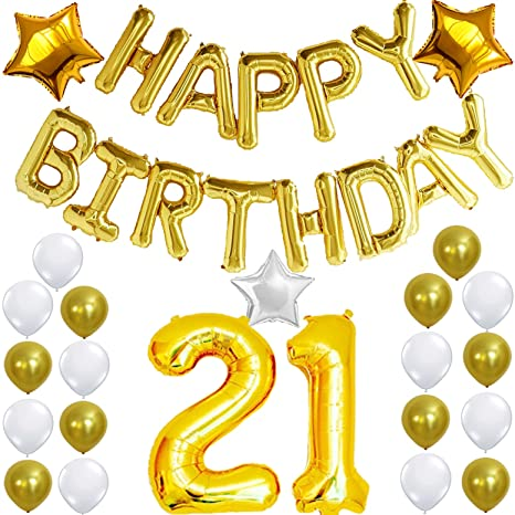 image relating to Happy Birthday Sign Printable named 21st Birthday Decorations Occasion Package - Pleased Birthday Balloon Banner, Range 21 Balloon Mylar Foil, Gold White Latex Ballon, Ideal 21 Yr Outdated Get together
