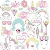 29Pcs/Set Photo Props Birthday Party Unicorn Photo Booth Props Unicorn Party Supplies Funny Rainbow Unicorn Pegasus Photo Props for Unicorn Baby Shower Birthday Party Decoration Favors Supplies