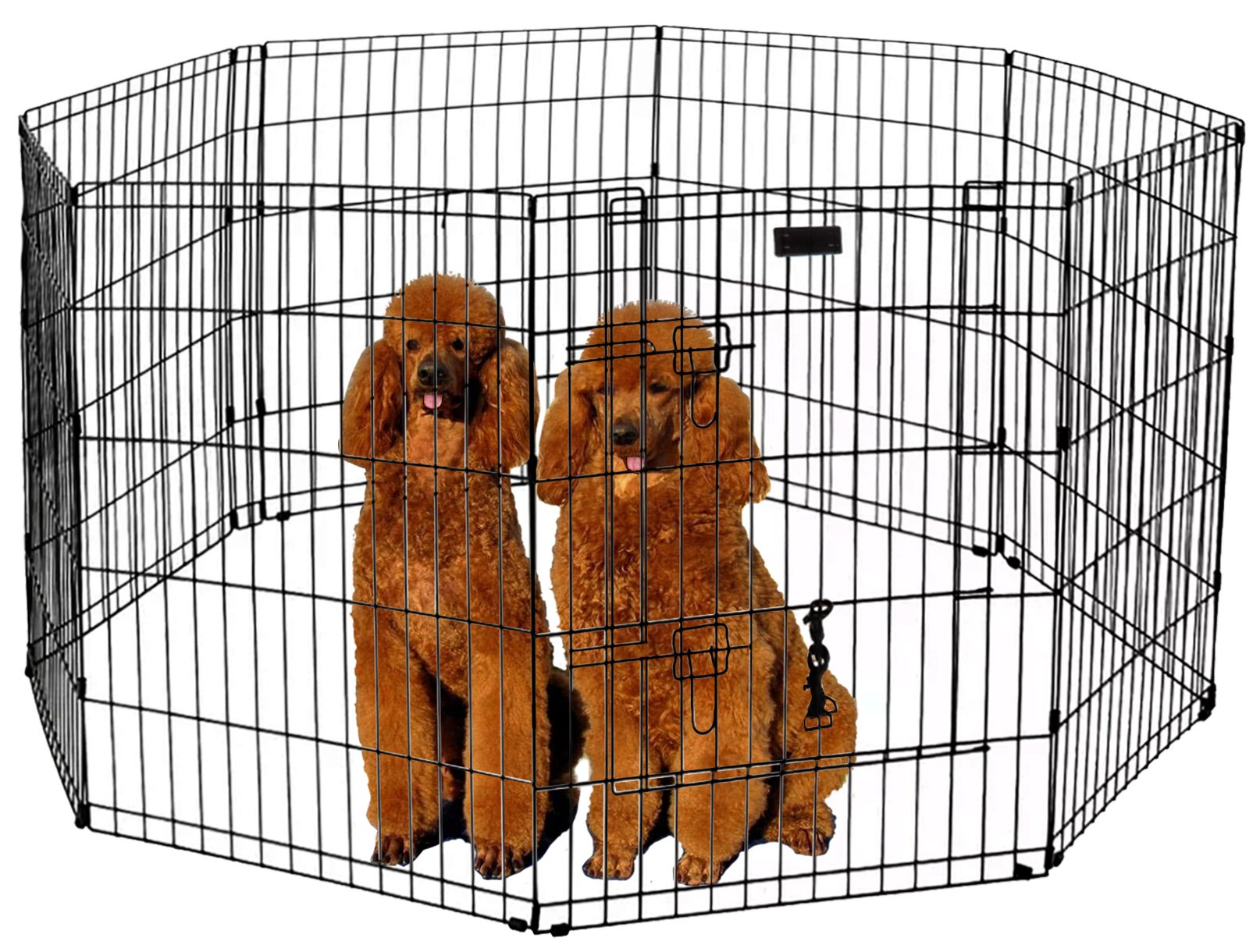 Ultimate Folding Dog Animal Pet Playpen Wire Metal 8 Panel Octagon Black Wire Enclosure Fence Exercise Popup Kennel Crate Tent Portable Gate Cage(XX-Large 48'') by LavoHome (Image #2)