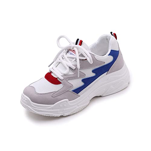 Vansney Moda Mujer Chunky Sneakers Mocasines Confort Señoras Mesh Vamp Zapatos de Trabajo Cordones Planos Entrenadores