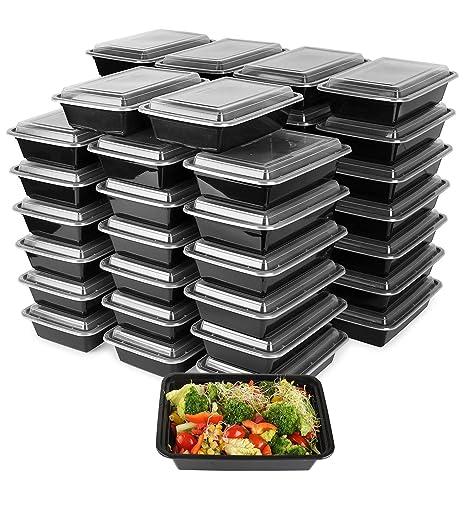 Paquete de 50 recipientes de plástico para preparar comidas ...