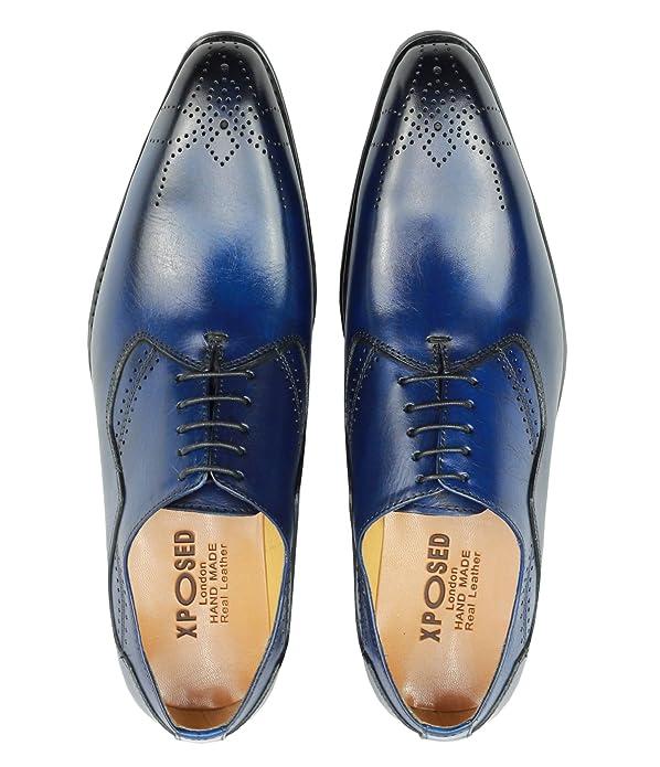 Tono Classic Cordones Dos Real Hombre Brogues Piel Bruñido Azul Para p8wqn
