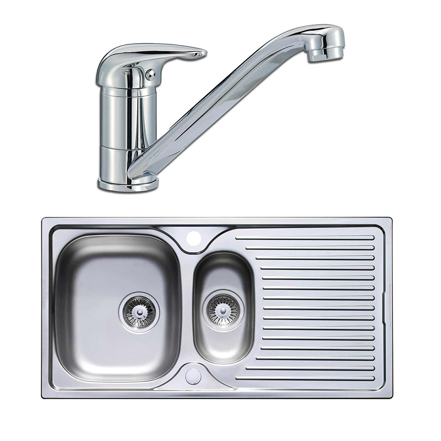 Astracast Quality 1.5 Bowl Stainless Steel Kitchen Sink & Lever Tap ...