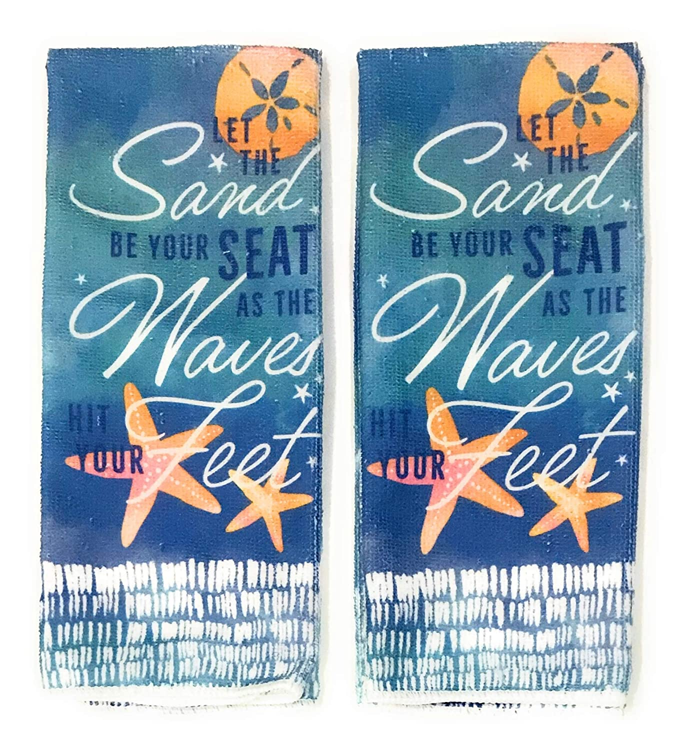 """Set of 2 Home Collection Kitchen Towels /""""Let the Sand Be Your Seat ../"""" 15/"""" X 25/"""""""